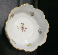 "Antique Richard Klemm Germany Small Bowl Trinket Dresden Flowers 3.25"" gold rim"