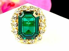 STUNNING KENNETH LANE GOLD SQUARE CUT EMERALD CRYSTAL RHINESTONE COCKTAIL RING