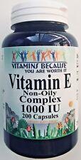 Vitamin E COMPLEX 1000 IU D-Alpha Tocopherol & Mixed Tocopherols 200 Capsules