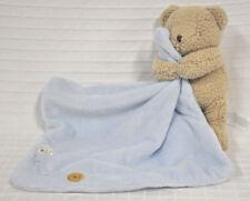 CARTER'S Brown TAN Bear SECURITY Blanket LOVEY Light BLUE Adorable SUPER Soft