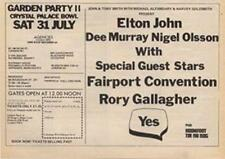 Elton John Yes Fairport Convention Rory Gallagher ad Time Out cutting 1971 #2 CD
