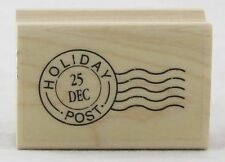 Holiday Post Mark Wood Mounted Rubber Stamp Hero Arts NEW christmas card tag art