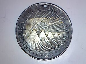 CENTRAL AMERICAN REPUBLIC 1824 8 REALES HOLED