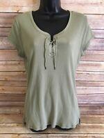 Lauren Ralph Lauren Short Sleeve Shirt Size XL Womens Blouse NWT New Top Denim