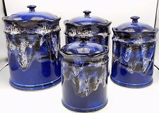 Southwest Studio Art Pottery Drip Glaze 8 Piece Canister Set Blue White Signed