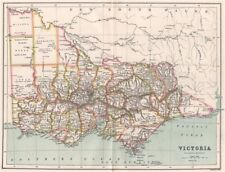 Victoria, Australia. State map showing counties. BARTHOLOMEW 1886 old