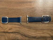 Authentic Apple Watch 5 Series 40mm Leather Band - Deep sea blue/Small Genuine