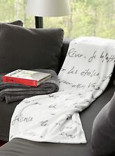 FRENCH Theme PARISIAN Style SOFT THROW BLANKET Decor POETRY Script Words Writing