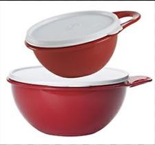 Tupperware Thatsa Mixing Bowls Set 12-cup Jr. Junior & 2-cup Mini Red New