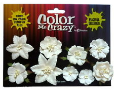 Assorted Flower Mix WHITE 9 Paper Flowers 24-50mm across Petaloo F
