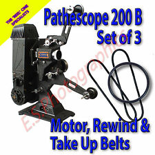 PATHESCOPE 200B 9.5mm Cine Projector 3 Belt Set For Motor, Rewind & Take Up