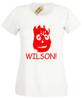 WILSON WOMENS T-SHIRT FUNNY MOVIE CASTAWAY RETRO FILM CLASSIC LADIES