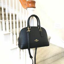 New Coach Mini Sierra Black Leather Satchel Bag F27591