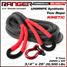 """Ranger 3/4"""" x 20' Commercial Reliability Kinetic Recovery Tow Rope 20,000 LBs"""