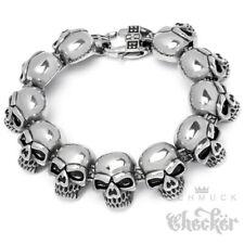 Herren Armband Totenkopf Edelstahl Skull Kautschuk schwarz Geschenk Männer neu