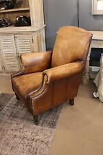 "36"" H Arm club chair high back antiqued buffalo brown top grain leather unique"