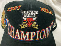 Vintage 1997 Chicago Bulls NBA Champions Black NBA Logo Athletic Snapback Hat