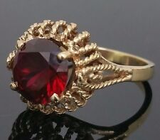 10K Yellow Gold 2.50 Carat Lab Created Blood Red Ruby Filigree Ring