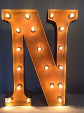 "New Rustic Metal Letter N Light Marquee: Sign Wall Decoration 24"" Vintage"