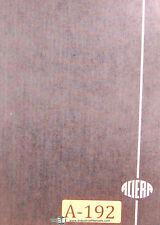 Aciera Type F1 Broach Milling Machine Parts Drawings Manual 1956