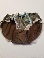 Vtg Satin Nylon Brown And Turquoise Panties Small