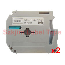 2x  Brother P-touch Compatible M-K231 MK231 Black on White 12mm 8m PT-80 PT-90