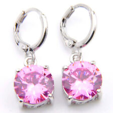 Beautiful Woman Round Natural Pink Fire Topaz Silver Dangle Hook Earrings