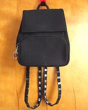 SALVATORE FERRAGAMO Vintage Black Nylon Long Chain Strap Backpack Italy
