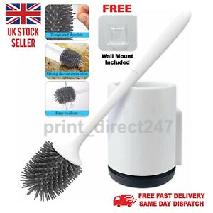 Silicone Toilet Brush Soft Bristle Holder Included Sturdy & Easy Clean UK