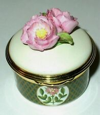 Ashley - Enamel Box - Pink English Rose Bonbonniere - Flowers - Mib - England