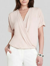 "$158 BCBG BARE PINK  ""NATTY"" SHORT SLEEVE WRAP TOP NWT M"