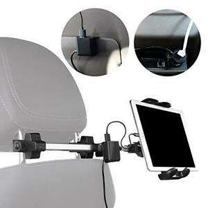 Macally Headrest Tablet Holder for Car with 4 Device USB Car Charger - Perfect