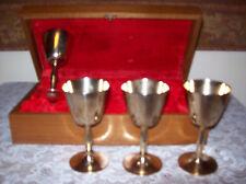 Vintage Bronzed Nickel Goblets Ceremonial Set Gold Tone in Wood Presentation Box