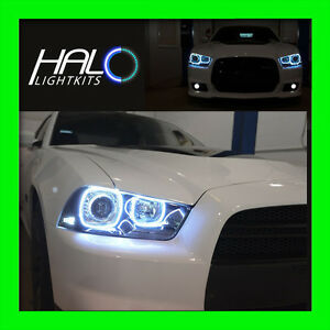 2011-2014 DODGE CHARGER WHITE PLASMA HEADLIGHT HALO KIT by ORACLE (4 RINGS)