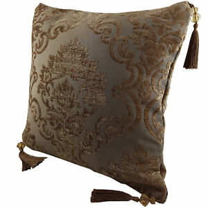 Chenille cushion cover 45cm x 45cm - Rust Brown colour with matching tassels