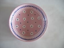 "AUSTRIAN GMUNDNER KERAMIK pink Slip decorated bowl 6 3/4"" Dirndl Rosa"