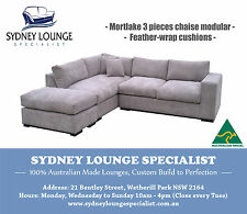 AUSTRALIAN MADE Mortlake 3 pieces Feather-wrap Chaise Sofa Lounge Couch Modular