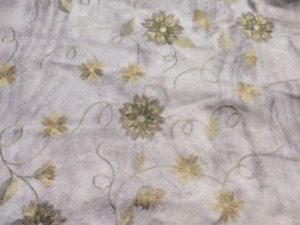 lambskin sheepskin suede leather hide Antiqued Embroidered Floral Green/Gold 2oz