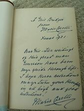"""Marie Corelli's 1921 inscription in 1905 book """"Through the Year with Emerson"""""""