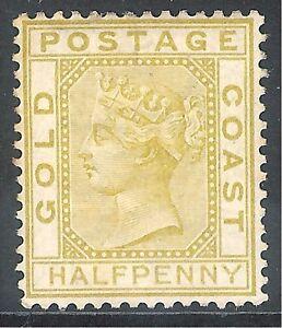 Gold Coast 1876 olive-yellow 1/2d crown CC no gum mint SG4