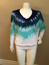 Young Fabulous & Broke 100% Rayon Green/Blue Tye-Dyed Ruched Knit Top M