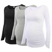 Women's Maternity Tunic Tops Clothes Flattering Ruched Long Sleeve Scoop Neck