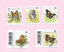 NEW ZEALAND 1991 Definitive Stamp Set Butterflies (5). VFU