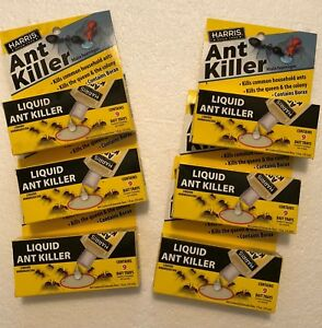 Harris ANT-1 Liquid 1oz Ant Killer Bait w/9 bait trays ant poison QTY6 NEW