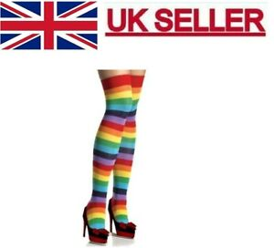 Ladies Over The Knee Multi-Coloured Rainbow Style Stripy Stripey Socks.