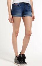 Ladies Superdry Boyfriend Shorts Size 26 (8) Mid Blue Denim BNWOT