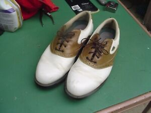 Footjoy Dogs FIT Men's 12 W Brown/White Leather Soft Spider Spike Golf Shoes