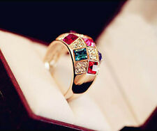 Women Luxury Colorful Rhinestone Crystal Finger Ring Jewelry Size 8 Gold one h