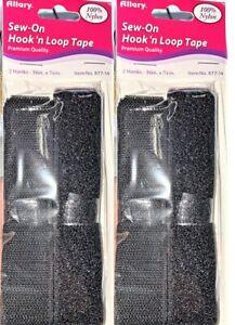 "LOT OF 2 Allary Stick-On No Sew Hook & Loop Fasteners, BLACK 2 Hanks 36"" x 7/8"","