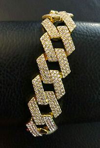 "Gold Miami Cuban Chain Bracelet Ice Crystal Pave Gold Plated 16mm 8"" #1166"